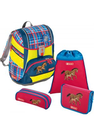 STEP BY STEP® Schulrucksack-Set 2 in 1 DIN Horse Family 4-teilig
